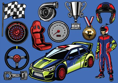 set of rally car race object Illustration