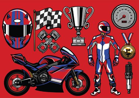 set of super motorcycle race objects Illustration