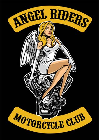 angel sits on the motorcycle engine