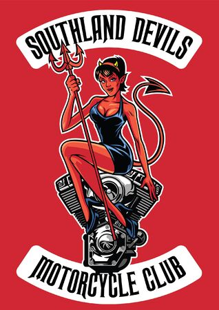 sexy lady devil sits on the motorcycle  engine  イラスト・ベクター素材