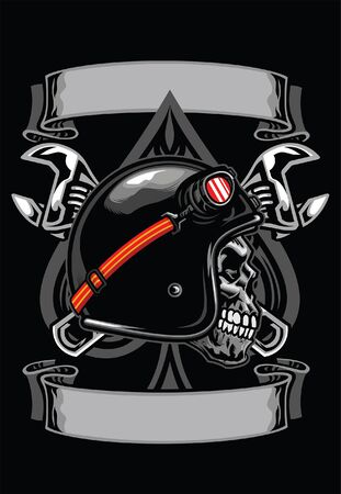 skull motorcycle rider wearing helmet with some blank banner for text