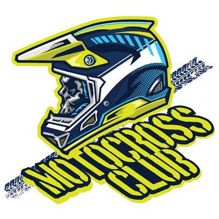 t-shirt design style of skull motocross rider