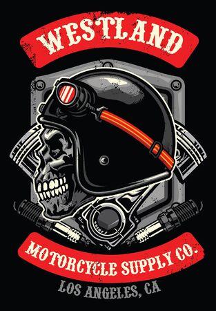 t-shirt design of skull motorcycle rider