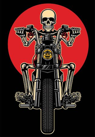 skull riding old vintage motorcycle