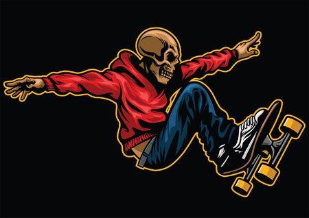 cráneo en acción montando patineta