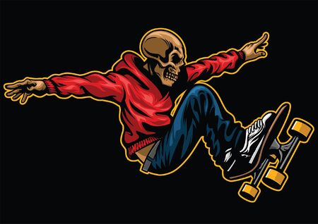 skull in action riding skateboard
