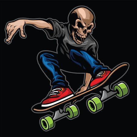 skull jumping riding skateboard
