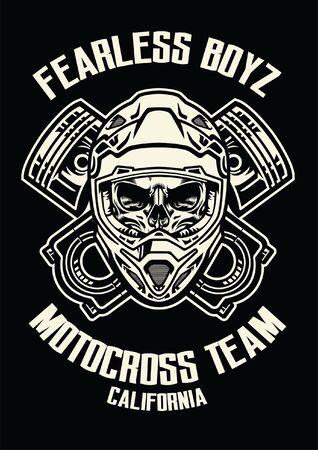 motocross skull rider t-shirt design  イラスト・ベクター素材