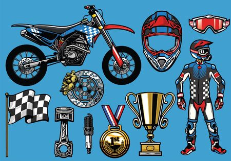 set of motocross objects set
