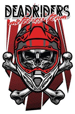 Skull of Motocross rider with crossing bones