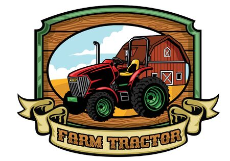 farm tractor vintage design with banner for text  イラスト・ベクター素材