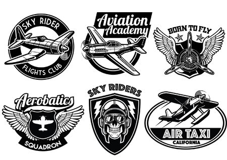 set of aviation badges collection