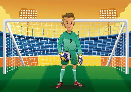 soccer goalkeeper in stadium Stock Illustratie