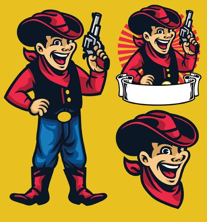 cartoon set of cowboy mascot character