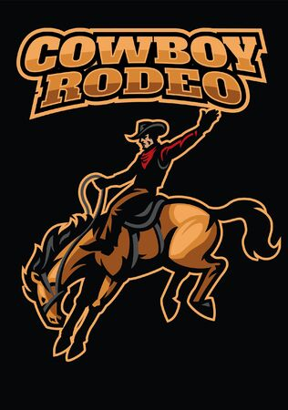 cowboy riding rodeo horse Illustration