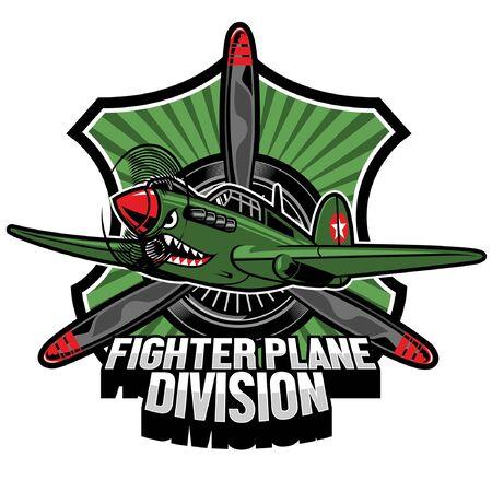 world war fighter plane  badge design