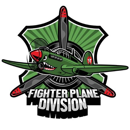 world war fighter plane  badge design