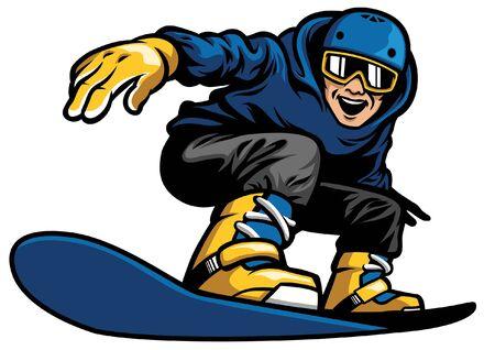 wesoły snowboardzista jeżdżący na snowboardzie