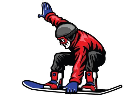 jumping man playing snowboard