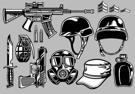 Conjunto de objetos militares en blanco y negro. Ilustración de vector