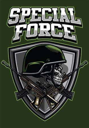 skull military t-shirt design with crossed rifles