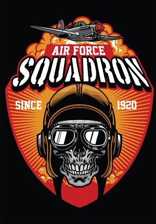 t-shirt design with world war skull pilot