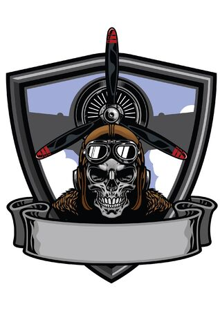 air force military design with pilot skull Illustration