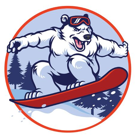 polar bear playing snowboard
