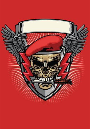 t-shirt design of skull military wearing red berret