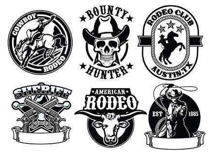 set of cowboy concept badges Ilustrace