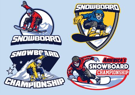 set of snowboarding badge set