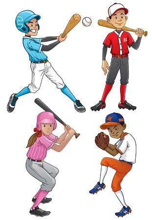 set of baseball player in cartoon style