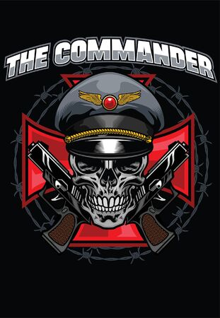 t-shirt design of military skull commander Vettoriali