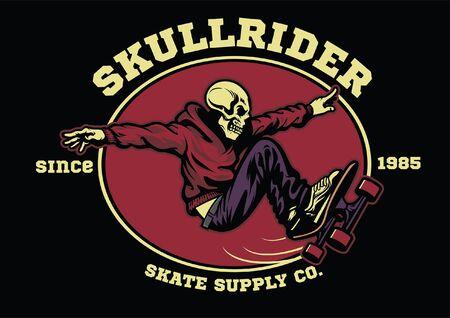 design of skull playing skateboarding Illustration