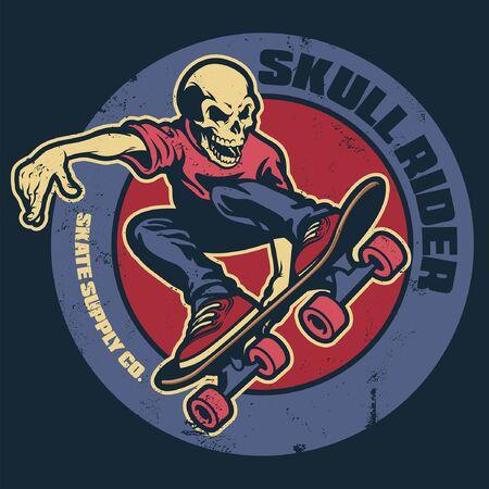 badge design of skull of skateboarding player