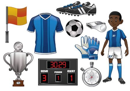 set of soccer object concept Stock Illustratie