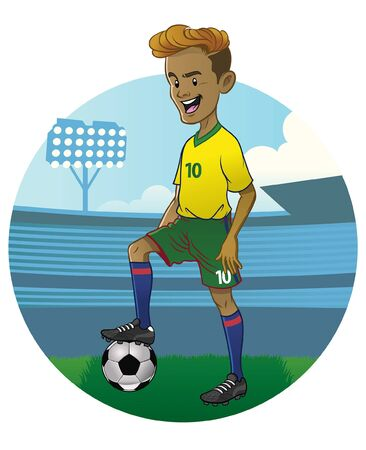 soccer player in cartoon style