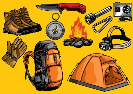 set of outdoor adventure objects