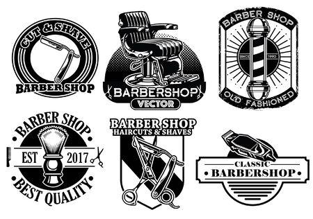 set of barbershop badge design collection