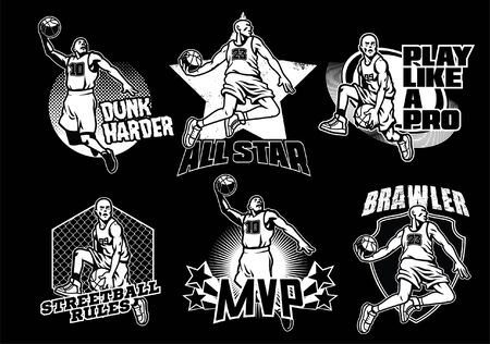 set of black and white basketball t-shirt design