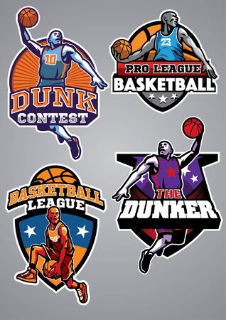 set of basketball t-shirt design