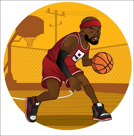 cartoon of basketball player in action