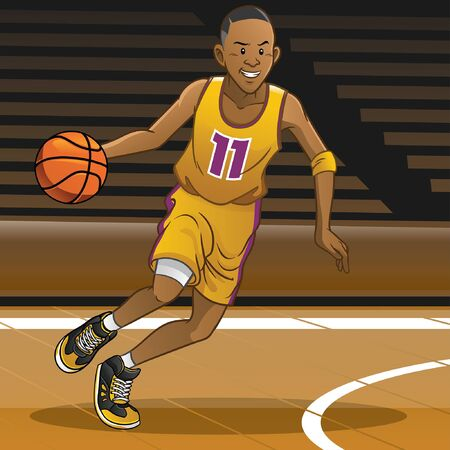 cartoon of basketball player dribbling the ball Иллюстрация