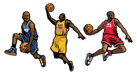 set of basketball player in various action pose