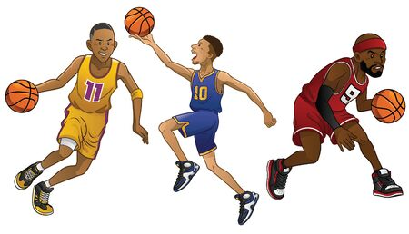 set of cartoon basketball player