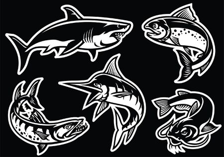 set of fish in black and white