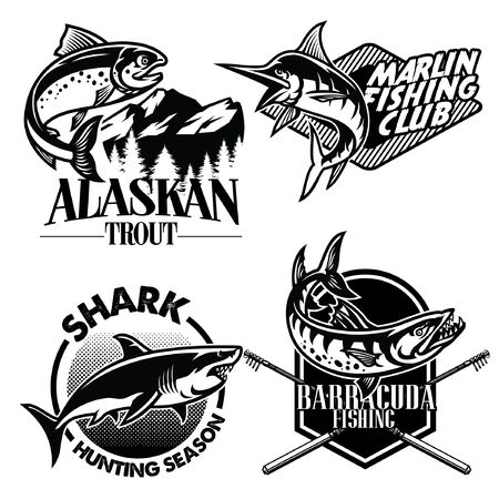 set of collection of fishing badge designs
