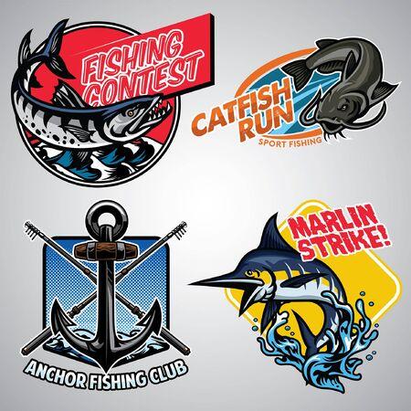 ensemble de conception de badge de pêche