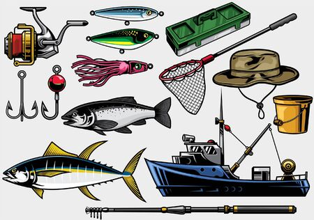 set of fishing concept objects