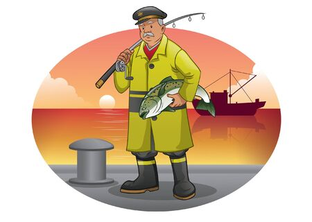 fisherman at the dock hold the fish catch
